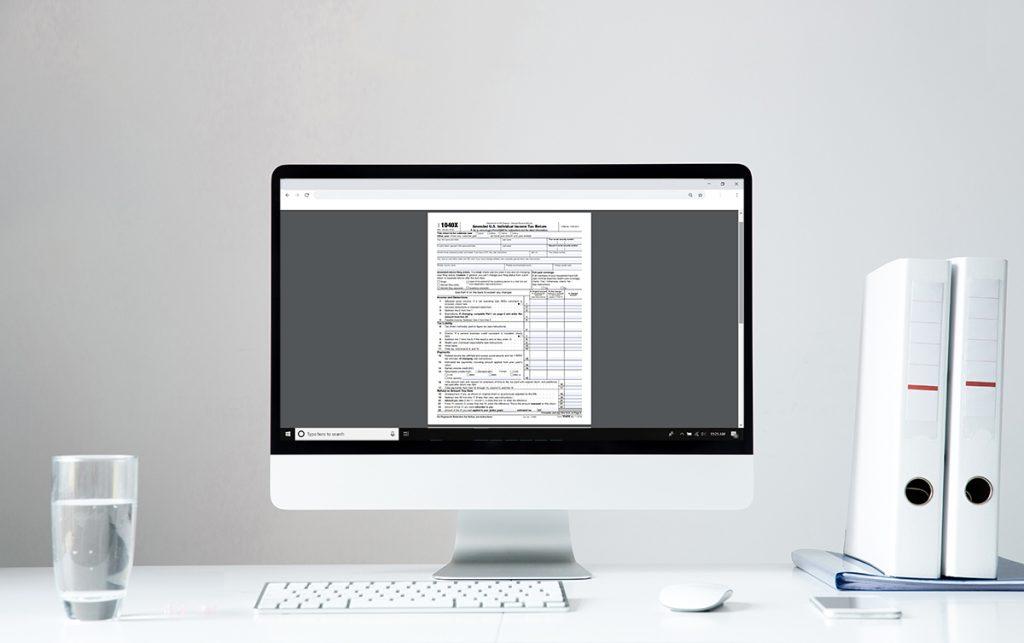 Tax Document on Desktop screen